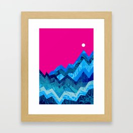The hight waves under a small moon Framed Art Print