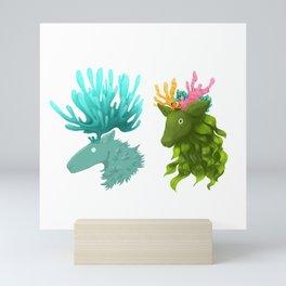 Coral deer -  Blue and kelp Mini Art Print
