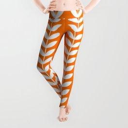Orange and White Scandinavian leaves pattern Leggings