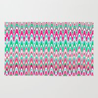 preppy Area & Throw Rugs featuring Making Waves Pink and Preppy by Shawn King