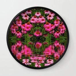 FUCHSIA-PINK ECHINACEA WATER GARDEN Wall Clock