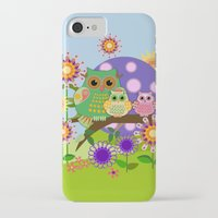 bebop iPhone & iPod Cases featuring Owls, Flowers Fantasy design by thea walstra