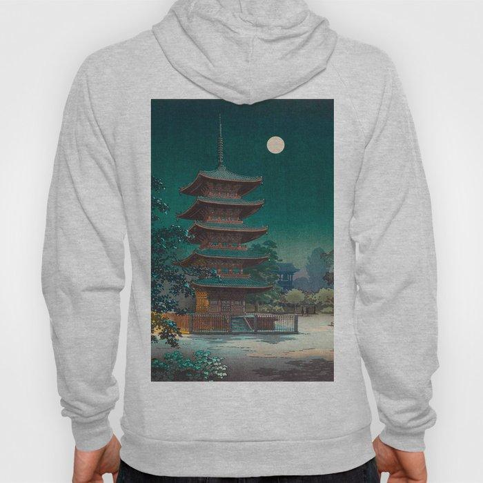 Tsuchiya Kôitsu Japanese Woodblock Vintage Print Garden At Night Moonlit Pagoda Tower Turquoise Sky Hoody