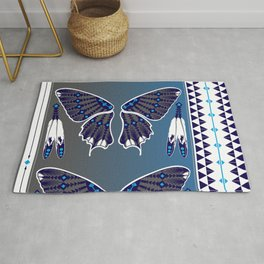 Butterfly Nation Blue Rug