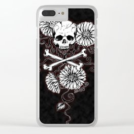 skull and daisy -red Clear iPhone Case