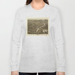 Vintage Pictorial Map of Claremont NH (1877) Long Sleeve T-shirt