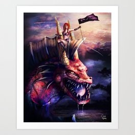 The Lady and the Water Dragon Art Print