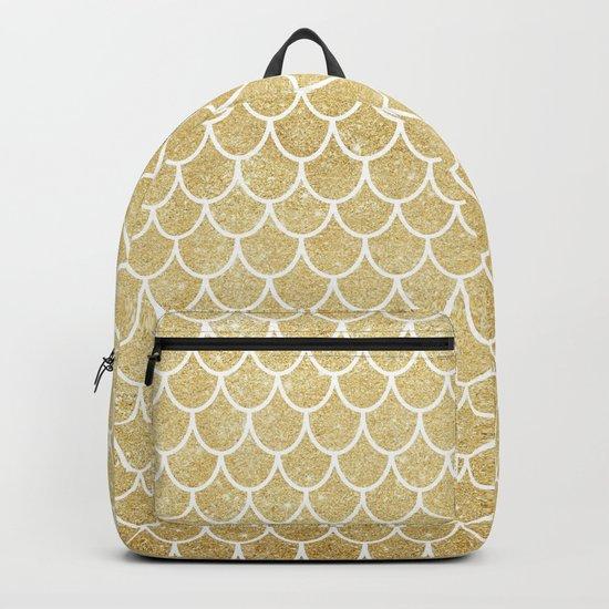 Mermaid Tail Pattern  |  Gold Glitter Backpack