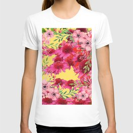 FUCHSIA-PINK FLOWERS YELLOW ART PATTERNS T-shirt