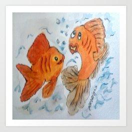 Silly goldfish Art Print