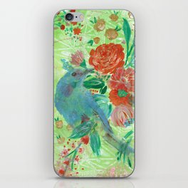 Bluo Bird and flowers iPhone Skin