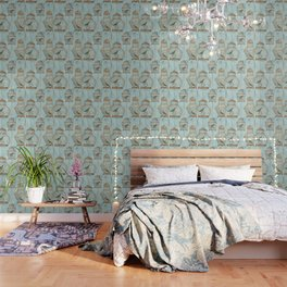 Vintage dream- Exotic colorful birds in cages on teal background Wallpaper