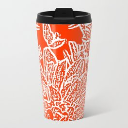 Dahlia Lino Cut, Fiery Red Travel Mug