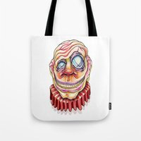 clown Tote Bags featuring Clown by Kikillustration