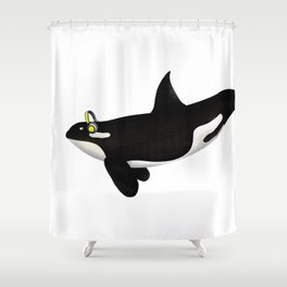 Killer Whale Headphones Shower Curtain