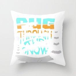 Christmas Pug Through the Snow Dog Lover Throw Pillow