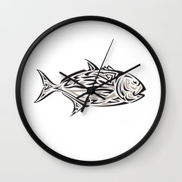 Giant Trevally Side Isolated Tribal Art Wall Clock