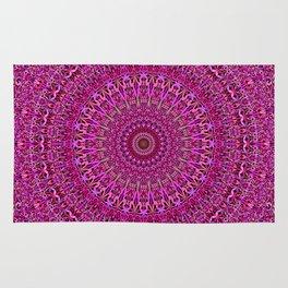 Hot Pink Floral Mandala Rug