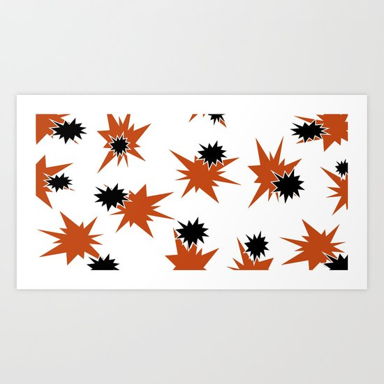Stars (Orange & Black on White) Art Print