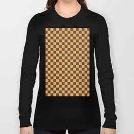 Tan Brown and Chocolate Brown Checkerboard Long Sleeve T-shirt