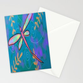 Funky Dragonfly Abstract Digital Painting Stationery Cards