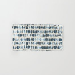 Blue & Linen White Bold Grunge Vertical Stripe Dash Line Pattern Pairs To 2020 Color of the Year Hand & Bath Towel
