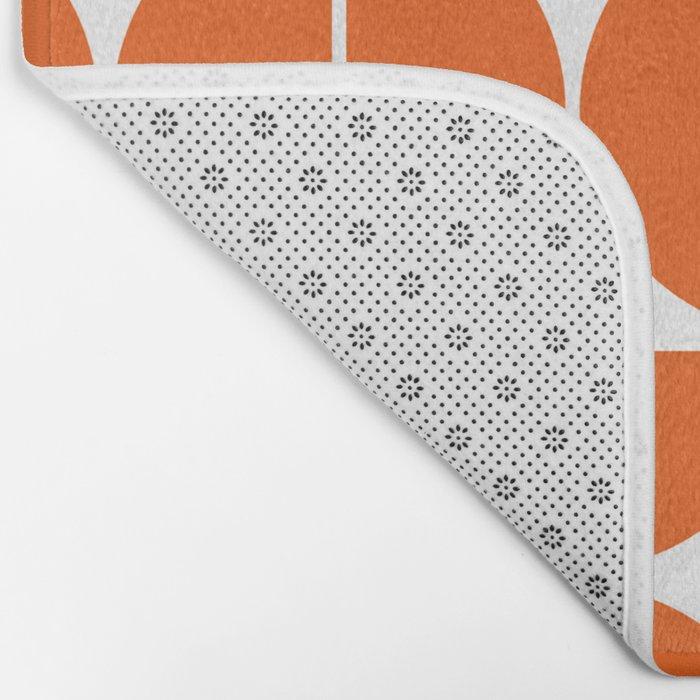 Mid Century Modern Geometric 04 Orange Bath Mat