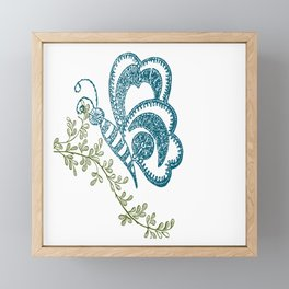 herbs, flowers and butterflies made of white thread embroidery Framed Mini Art Print