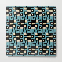 Mid Century Modern Abstract 212 Turquoise Metal Print