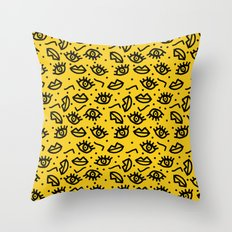Face Time - retro throwback minimal pattern eyes faces 1980s 80s vintage memphis drawing monochrome Throw Pillow