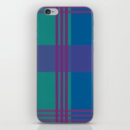 The Turquoise and Purple Check iPhone Skin