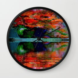 SURREAL RED POPPIES GREEN VASE REFLECTIONS Wall Clock