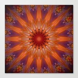 Vibrant Purple Orange Mandala Design Canvas Print
