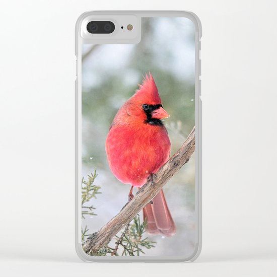 Winter's End Cardinal Clear iPhone Case