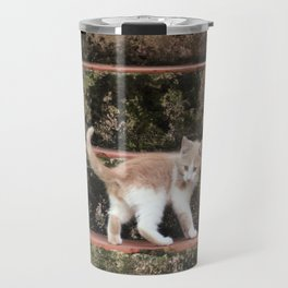 Cute Kitten Playing on the Stairs Travel Mug