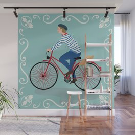 Vintage Style Frenchman on a Bicycle with Baguette Art Print Wall Mural