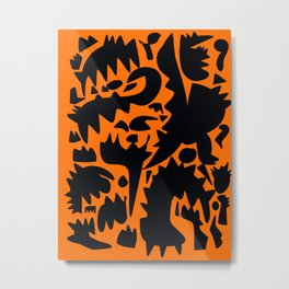 Halloween Monsters and Bats in the orange night Metal Print