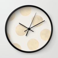 polka Wall Clocks featuring Gold Polka Dots by Georgiana Paraschiv