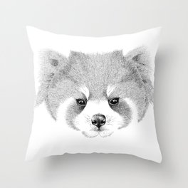 'The Red Panda' pointillism drawing with ink Throw Pillow