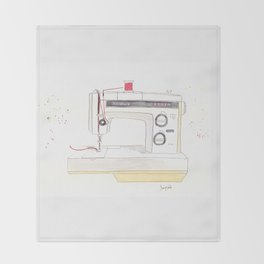 Vintage Kenmore 158.1760 Sewing Machine with Red Spool Throw Blanket