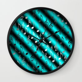mint,blue,black,music, note, notes, ribbon, symbol, symbol, silver, pattern textile, f Wall Clock