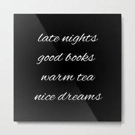 Inverted Nights Books Tea Dreams Metal Print