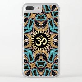 Om Shanti Teal+Gold Clear iPhone Case