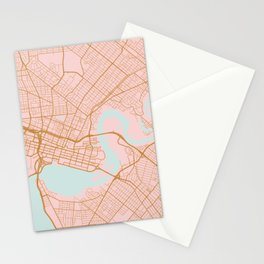 Pink and gold Perth map, Australia Stationery Cards