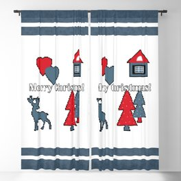 Pixel, Christmas , new year  2 Blackout Curtain