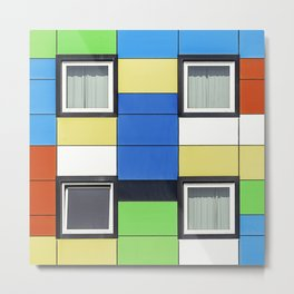 Facade with colorful paintings and windows Metal Print