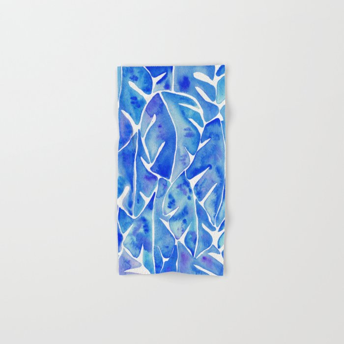 Split Leaf Philodendron – Blue Hand & Bath Towel
