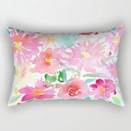 Blooming bouquet #2 || watercolor Rectangular Pillow