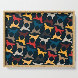 Golden Retriever Silhouettes - Colorful Pattern Serving Tray