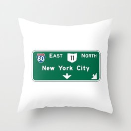 New York City Interstate 80 Sign Throw Pillow